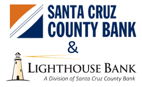 Logos of Santa Cruz County Bank and Lighthouse Bank